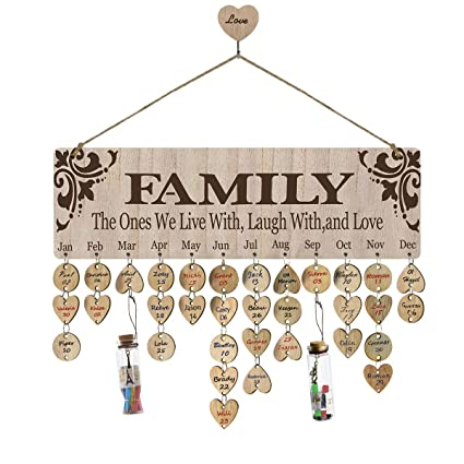 Airelon Family Birthday Wall Hanging Calendar Wooden Anniversary Handmade Reminder Plaque Diy Wood Crafts Calendar Board For Kids Friends Creative
