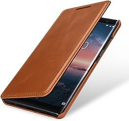 StilGut Book Type Housse en Cuir pour Nokia 8 Sirocco. Étui de Protection Nokia 8 Sirocco en Cuir véritable à Ouverture latérale, Cognac