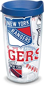 Tervis NHL New York Rangers All Over Tumbler with Wrap and Blue Lid 16oz, Clear