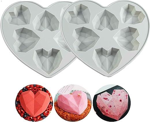 2 قطعة قالب شوكولاتة على شكل قلب ماسي ثلاثي الأبعاد قالب سيليكون غير لاصق قابل لإعادة الاستخدام صينية سيليكون قالب للشوكولاتة والكيك، جيلي بودنج، صينية مكعبات الثلج الحب (12 - التسوس)