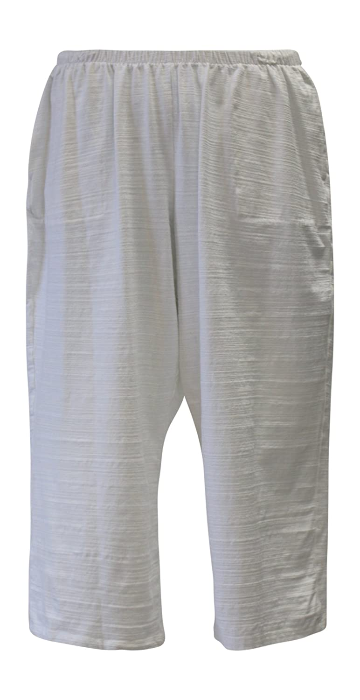 Fenini Women's White Stretch Jersey Crop Pant Plus Size