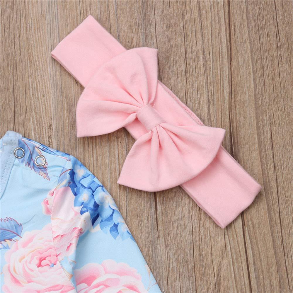 Babykleidung M/ädchen Strampler Neugeborene M/ädchen Overall mit Schleife Stirnband Outfit Set