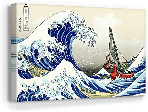 The Legend of Zelda Windwaker The Great Wave Off Kanagawa Canvas Art Wall Art Home Decor 45in x 30in Gallery Wrapped