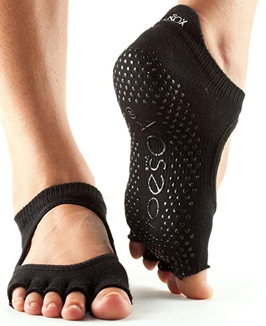 Toesox Full Toe Bellarina Calcetines de Yoga, Unisex Adulto, Negro, M