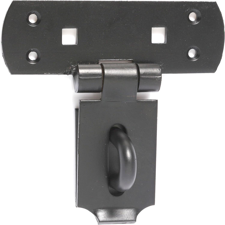 Hasp & Staple Black 160mm Supplied with Waterproof Padlock DIY ...