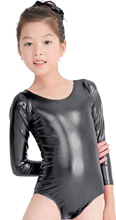 83dd72d25 Amazon.com  speerise Kids Girls Long Sleeve Shiny Metallic Spandex ...
