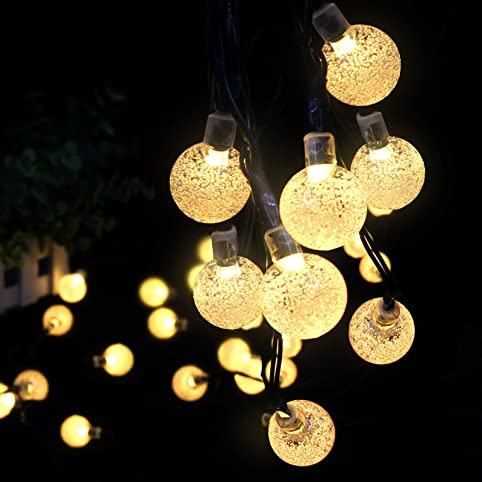 Solar Outdoor String Lights  Ascher 30 LED Fairy Light Warm White Crystal  Ball Christmas Globe