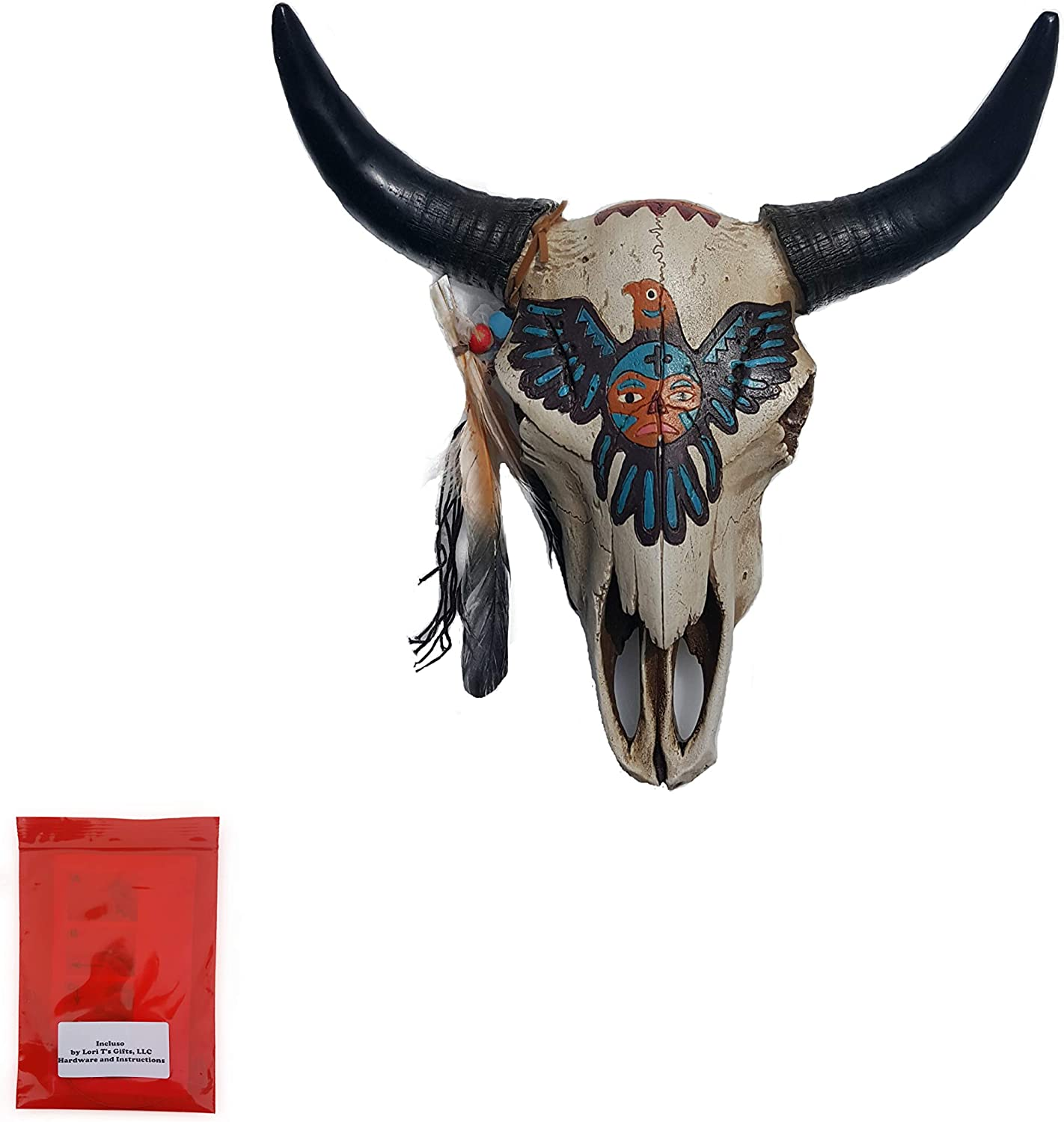 Cow Skull Tribal Design Wall Hanging Decor 3D with Horns with Painted Aztec Bird with Feather Taxidermy and Mounting Hardware Set for Home or Office Used Indoors or Outdoors