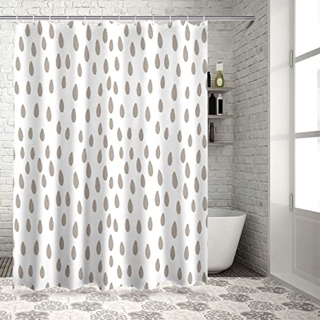 Warm Tour Geometric Raindrop Bathroom Shower Curtains Polyester Fabric Light Brown And White Home Decorative Waterproof Bath Curtain Set With Hooks Home Kitchen
