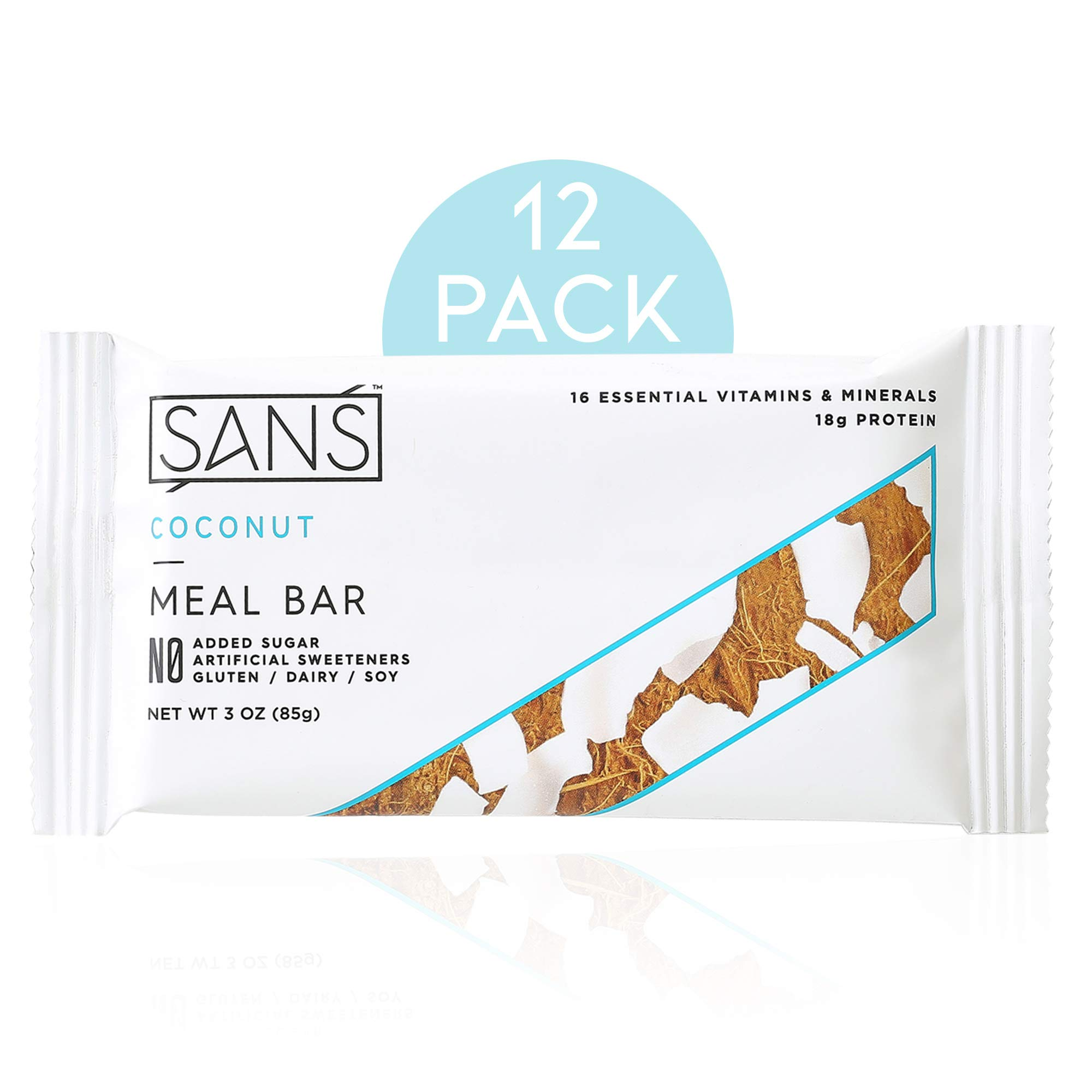SANS Coconut Meal Replacement Protein Bar | All-Natural Nutrition Bar With No Added Sugar | Dairy-Free, Soy-Free, and Gluten-Free | 16 Essential Vitamins and Minerals | (12 Pack) by SANS