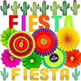 Supla Fiesta Party Decorations Cactus Banner Garland Backgound String Hanging Paper Fans Mexican Fiesta Garland for…