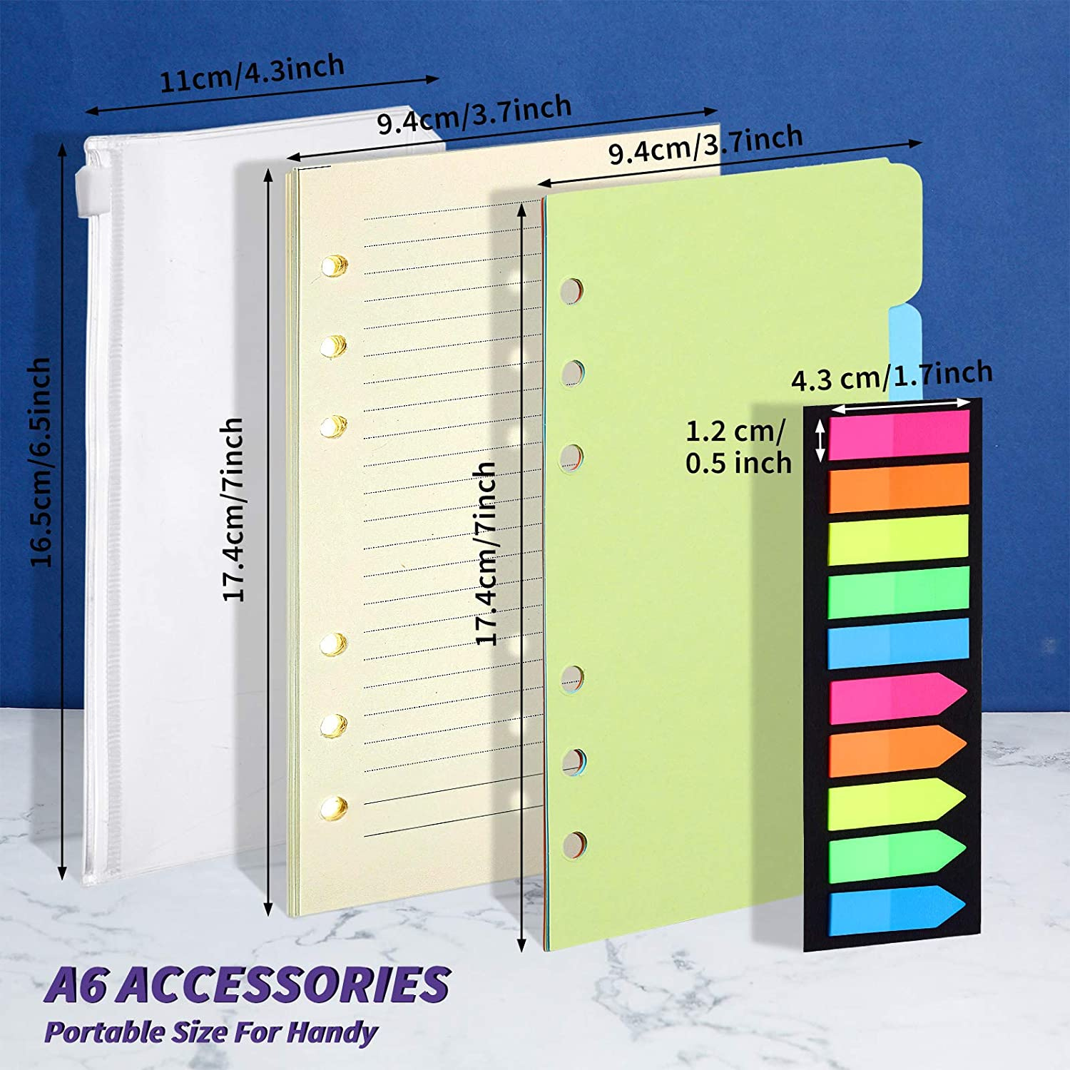 A6 PU Leather Notebook Binder Magnetic 6 Round Ring Binder Cover Zipper Folder Set 10 Pieces A6 Size 6 Holes Binder Pockets with 2 Refillable A6 Loose Leaf Paper and 200 Neon Page Markers and Dividers