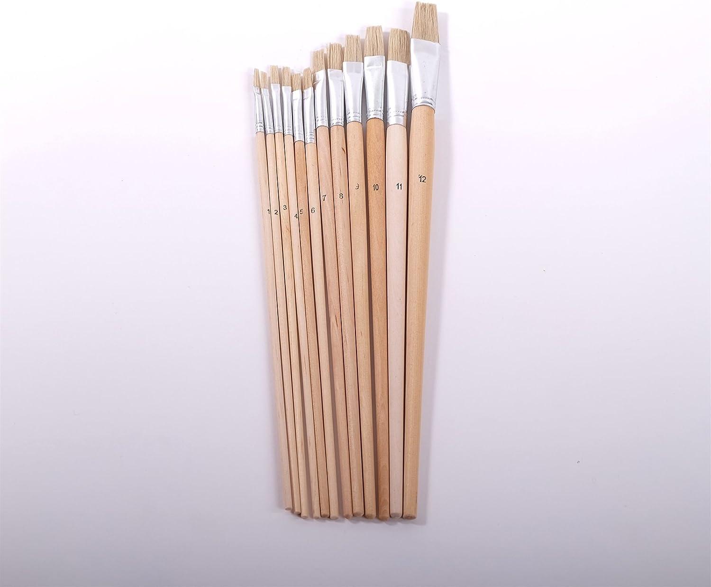 12 pennelli piatti con morsetto in alluminio dimensioni 1-10 setole naturale