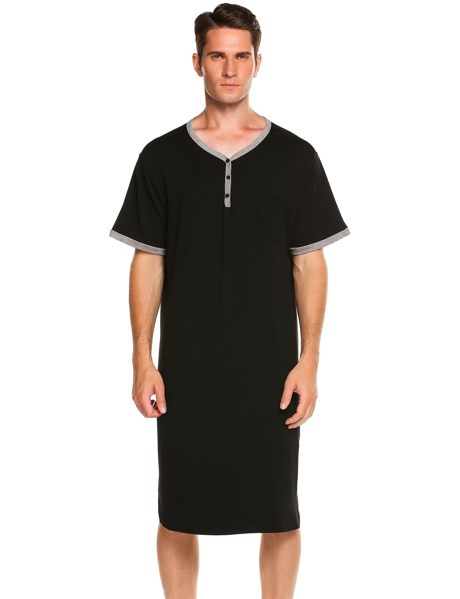Ekouaer Men's Sleepwear Cotton Sleepwear Soft Nightshirt,A-black,X-Large