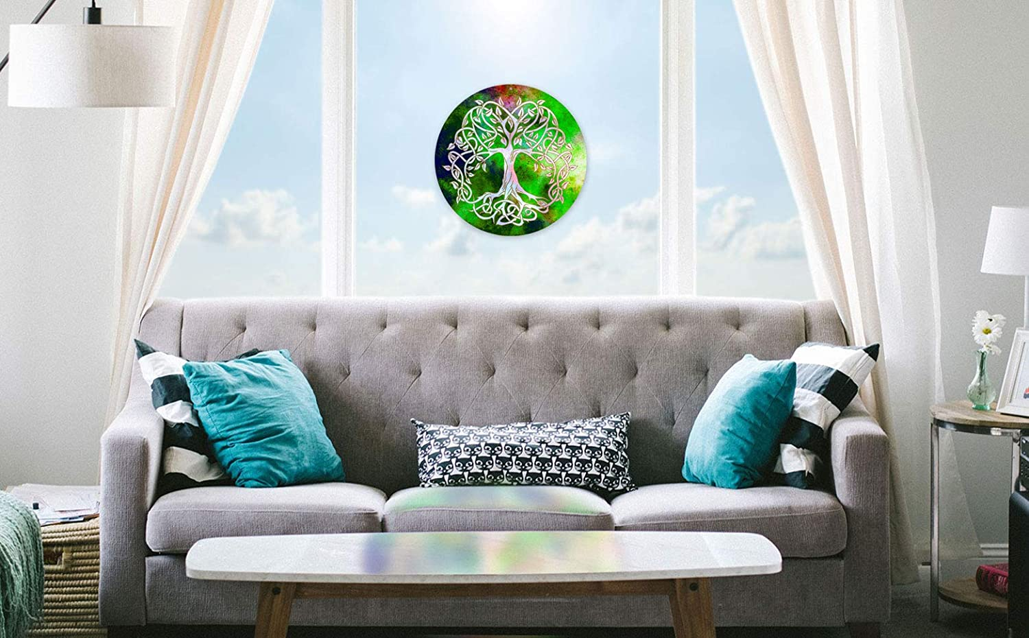 Feng Shui decoration acrylic glass 20.1 /ø 16 inch gift idea birthday Symbol of love Lucky charms tree of life Christmas present Hanger window decorations Sun catcherTree of Life No