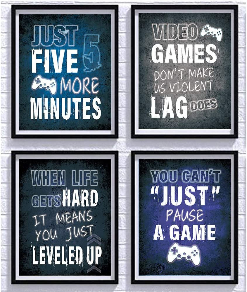"""Four Colors Cool Video Game Posters Set of 4 (8""""X10""""), Video Game Themed Art Print Room Wall Decoration, gamer wall art, PS4 Controller, Gamer, Teen boy bedroom, game room, Kids room, No Frames"""