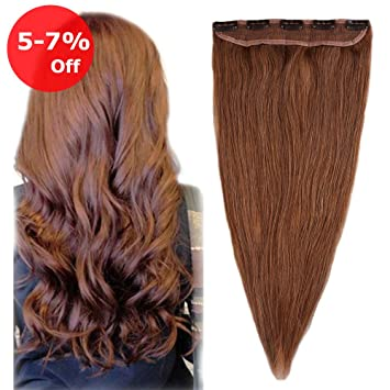 Amazon Com One Piece Clip In Human Hair Extension 20 Light