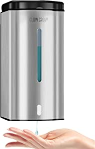 GLOW GROW Wall Mounted Commercial Automatic Liquid Soap Non Contact Automatic Soap Dispenser,Induction Pump Hands-Free Liquid Soap Dispenser Used in Bathrooms, Schools,600mL