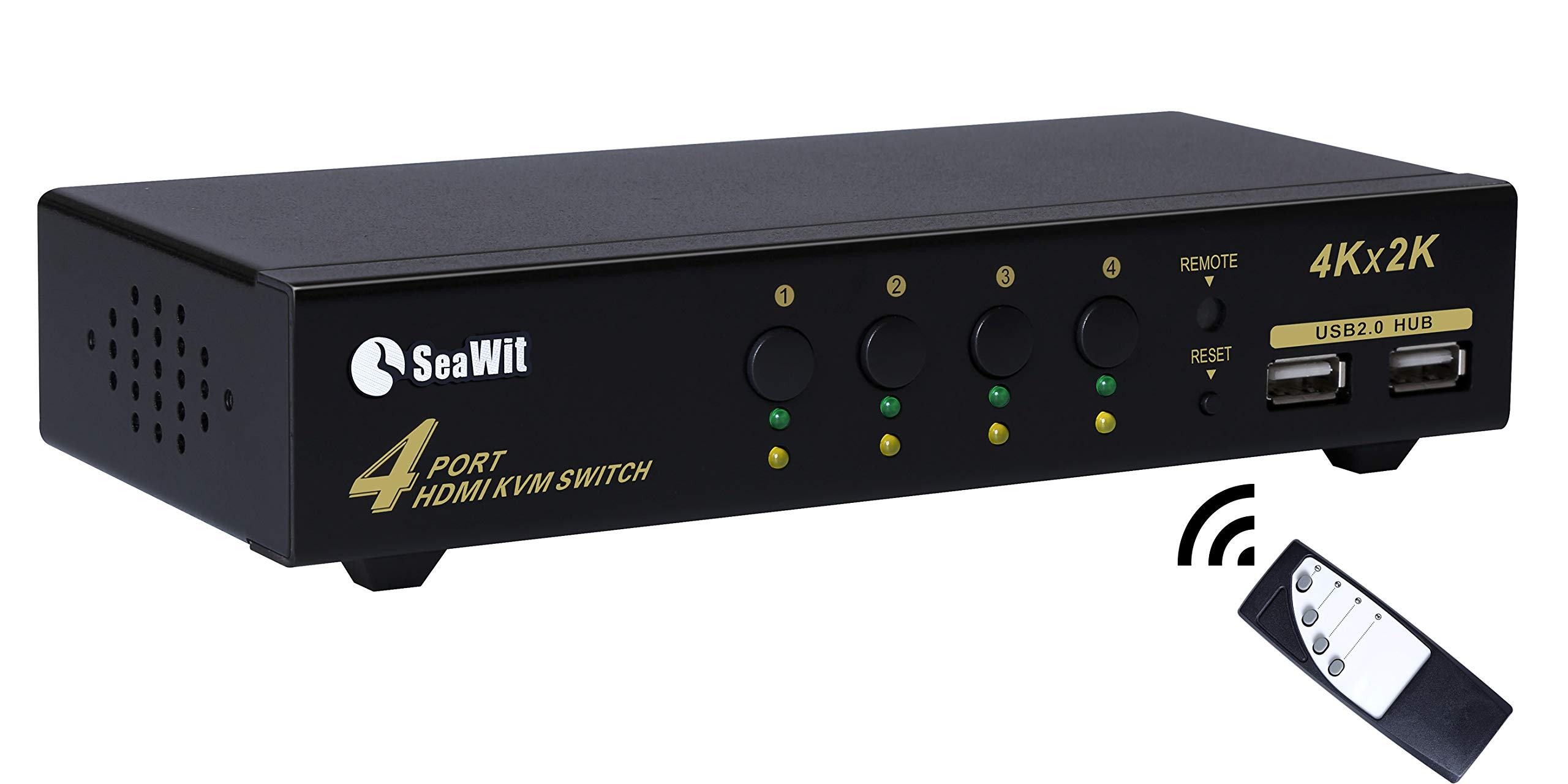 Sea Wit 4 Port HDMI KVM Switch 4K with Remote Control by Sea Wit