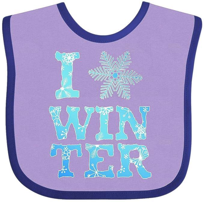 eb10ff065 Amazon.com: Inktastic - I Love Winter- blue and white Baby Bib Lavender and  Purple 2d773: Clothing