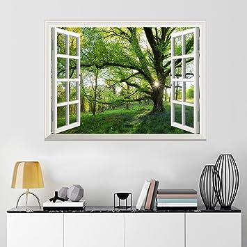 uniquebella poster mural en vinyle auto adhsif 115x153cm trompe loeil fentre grand arbre printemps