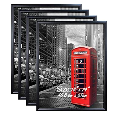 PETAFLOP 18x24 Poster Frame with Plexiglass Front Black Picture Frames for 18 x 24 inch Wall Art, Set of 4
