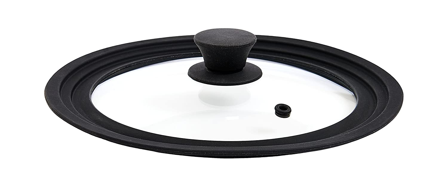 The World's Greatest Universal Pot Lid and Microwave Cooking Cover, Tempered Glass and Silicone, Fits 8.5 to 10.25-Inches HIC Harold Import Co. 34000