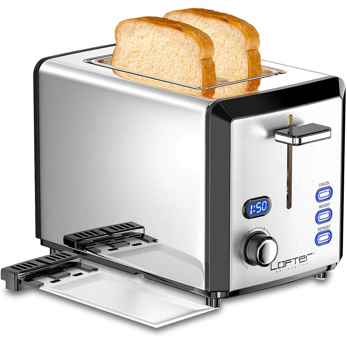 2 Slice Toaster, LOFTER Mirror Stainless Steel Toaster Extra Wide Slots Toasters with 6 Shade Settings, Compact LED Display with Removable Crumb Tray, Defrost Reheat Cancel, High Lift Lever, 800W