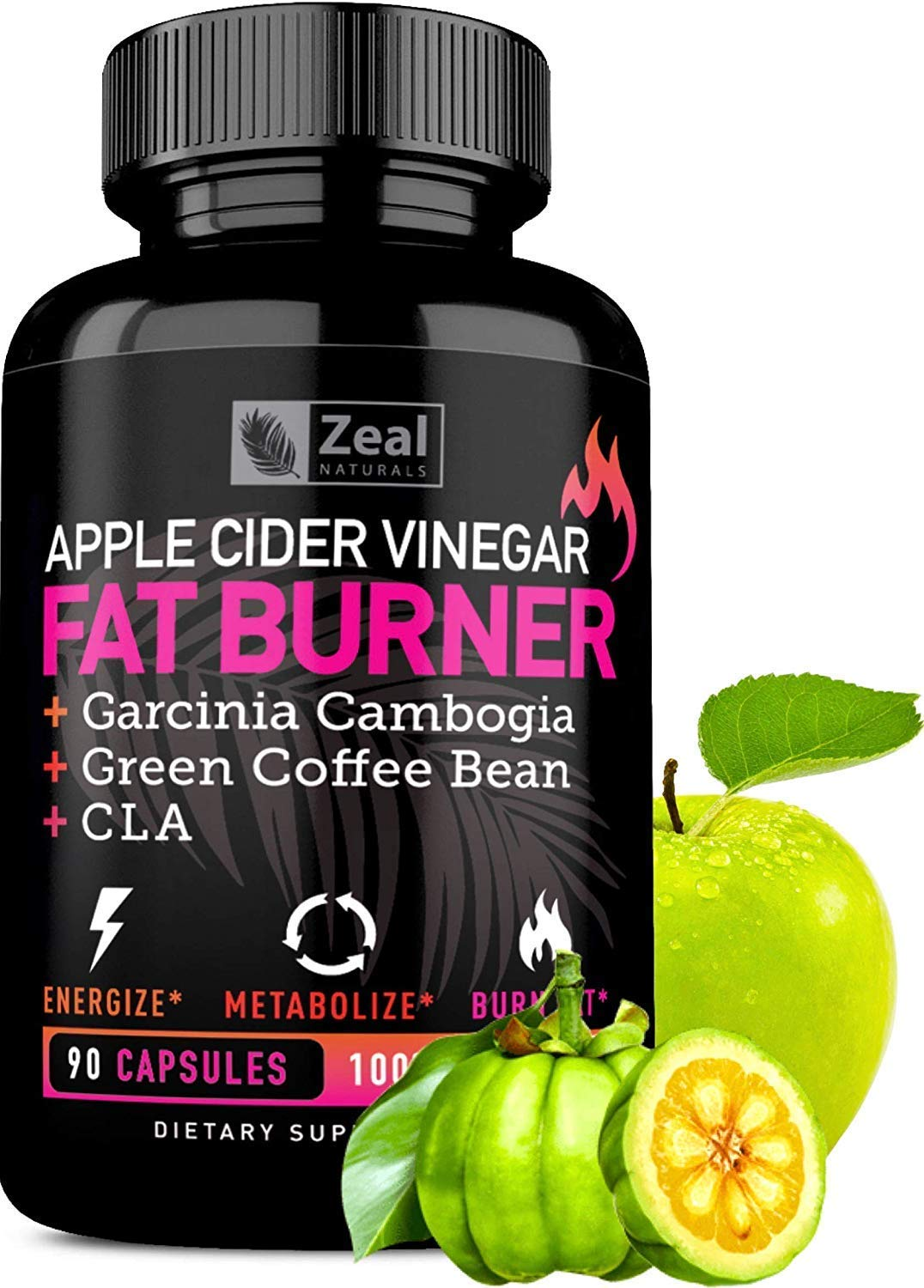 Apple Cider Vinegar Weight Loss Pills for Women - Garcinia Cambogia + Apple Cider Vinegar Pills for Weight Loss w. CLA & Green Coffee Bean Green Tea Fat Burner Pills - Detox Cleanse Weight Loss Pills by Zeal Naturals