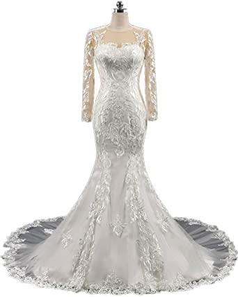 11858f7f81f APXPF Women s Mermaid Lace Long Sleeves Wedding Dress for Bride Backless  Chapel Train Ivory US26