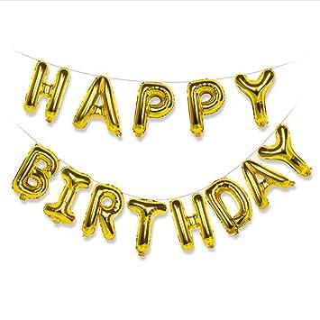 Amazon.com: Globos de feliz cumpleaños dorados, póster de ...