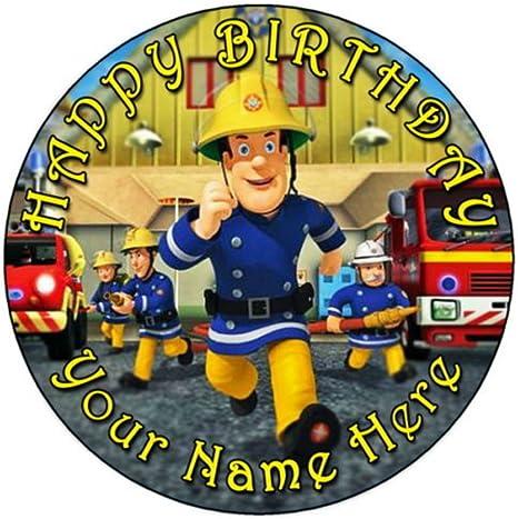 Fireman Sam Cake Topper Circle Personalised Printed on Icing