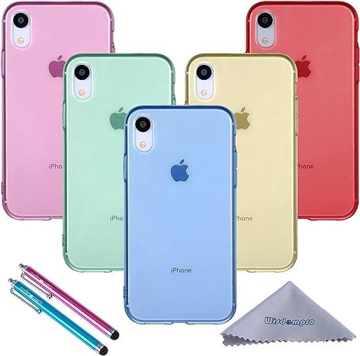Wisdompro Lot de 5 coques de protection ultra fines en gel TPU souple pour Apple iPhone XR (bleu, bleu turquoise, rose vif, jaune, rouge) - Couleur ...