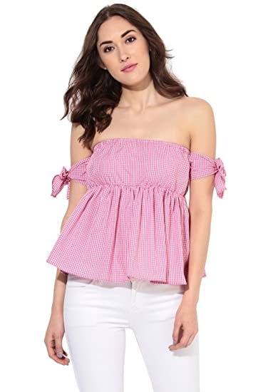d84d47ce622e8a BESIVA Women's Gingham Off-Shoulder Top Pink: Amazon.in: Clothing ...