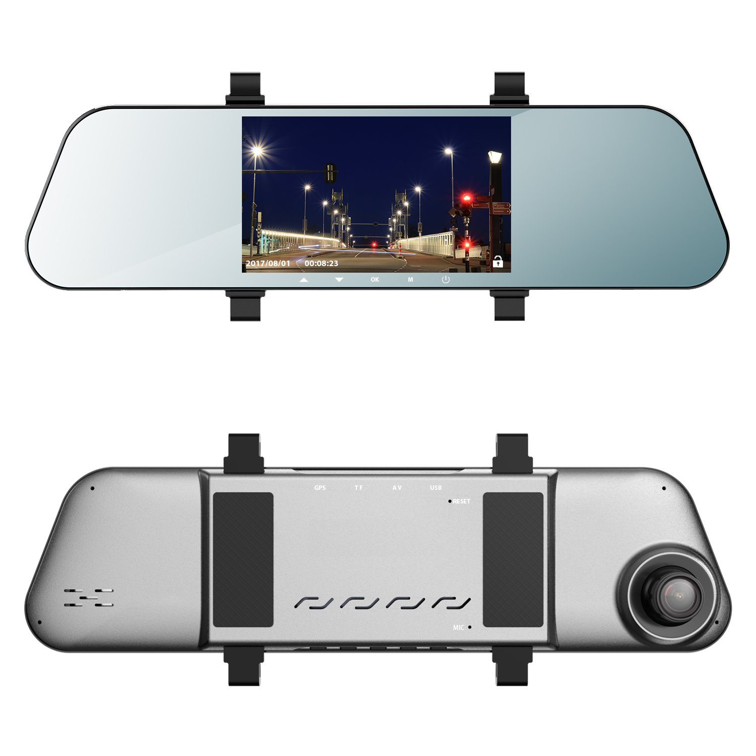 EHOOM Mirror Dash Cam A8, Front View HD Cam, 5'' IPS Touch Screen FHD 1080, 6-Lane 170° Wide-Angle View Lens, Car DVR with G-Sensor, Loop Recording, Parking Monitor, Al-alloyed Case, Super Night Vision