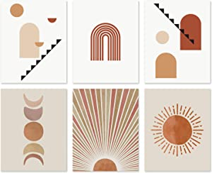 Mid Century Minimalist Wall Art - Bohemian Boho Decor for Bathroom Bedroom Living Room Home Modern Geometric Abstract Line Painting Sun Moon Posters and Prints Aesthetic Pictures Unframed (8x10)