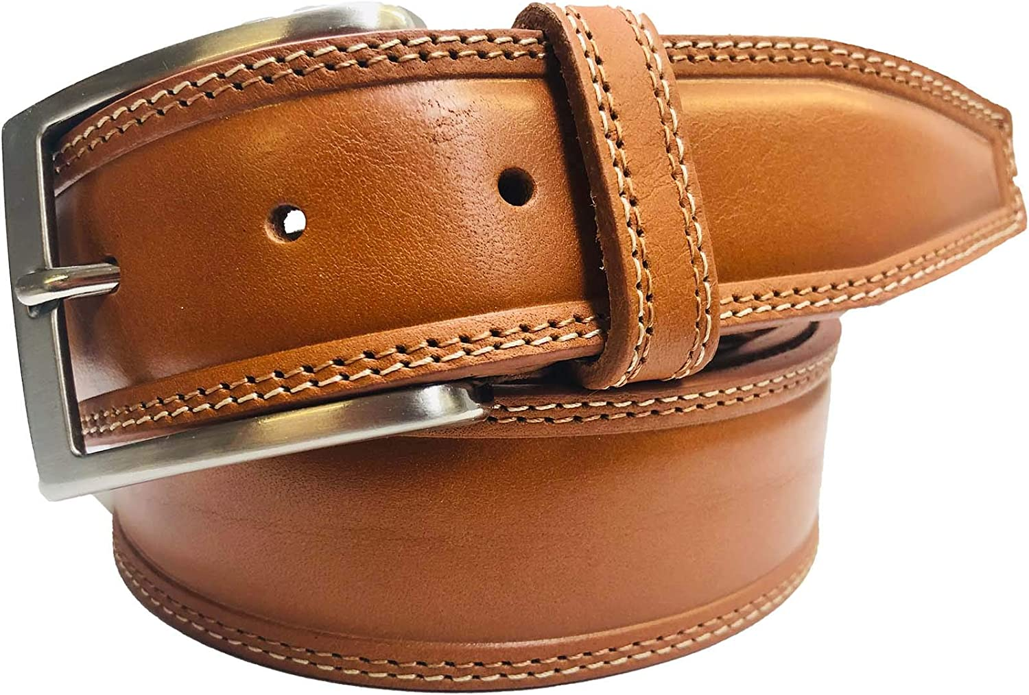 Tan Light 100/% Real Leather Handmade Silver Buckle Jeans Trouser Belt Made In UK