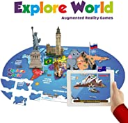 PLAYAUTOMA Explore World (App Based) - Augmented Reality Interactive Learning Games on World Map Jigsaw Floor Puzzle for Kid