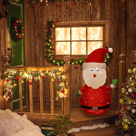 KPROE Portable Pre-Lit LED Lighted Battery Operated Santa Claus Christmas Lawn Decoration Indoor Outdoor Holiday 27.5 Inches
