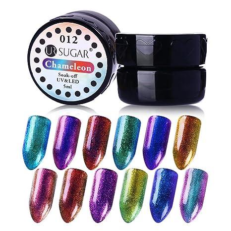 UR SUGAR 5ml Esmalte de Uñas de Gel Conjunto Camaleón Cambio de Color Esmalte Semipermanente UV