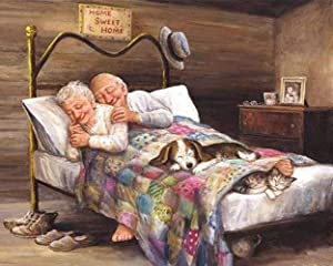 Home Sweet Home NineHorse Diamond Painting By Number Kits - A Loving Old Couple 5D Full Drill Crystal Rhinestone Painting Embroidery Cross Stitch Set, Decor Art Gift for Adult(11.8x15.7 Inches)