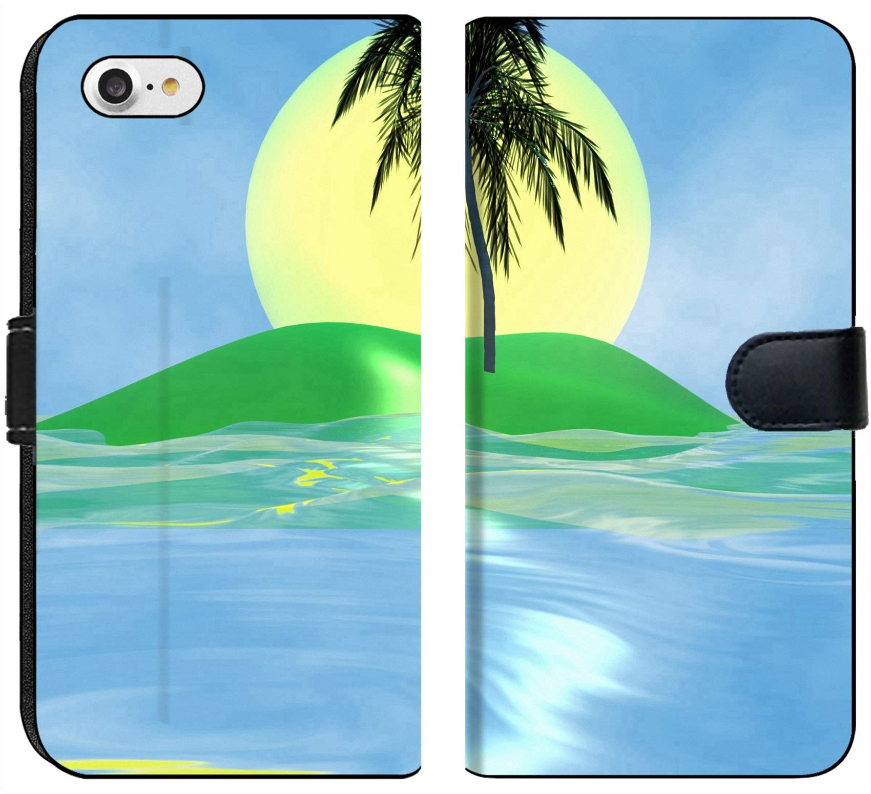 Luxlady iPhone 7 Flip Fabric Wallet Case Solar island with a palm tree in the huge dark blue sea IMAGE ID 2842537