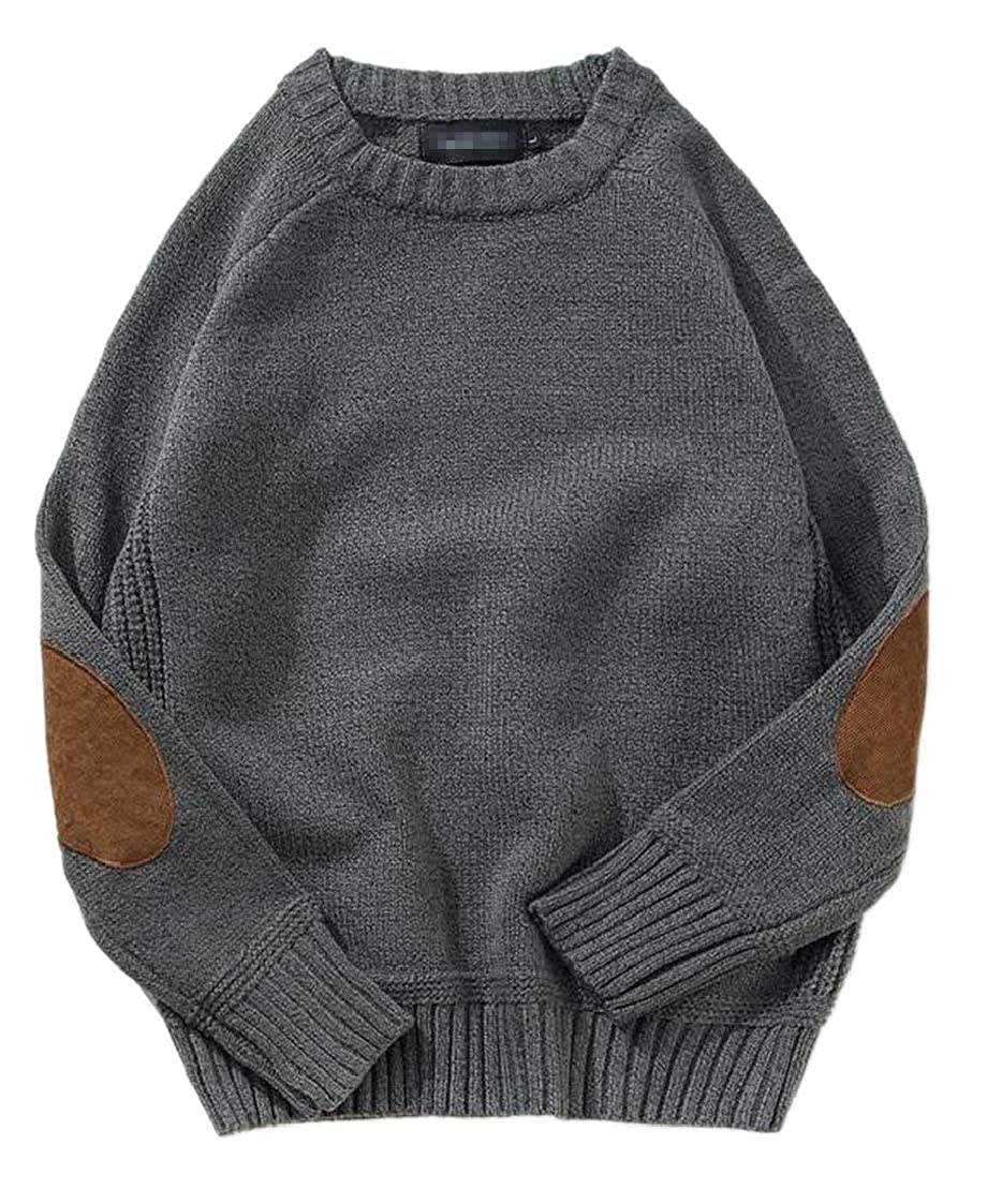 M/&S/&W Men Knitted Loose Elbow Patchwork Long Sleeve Round Neck Pullover Sweater