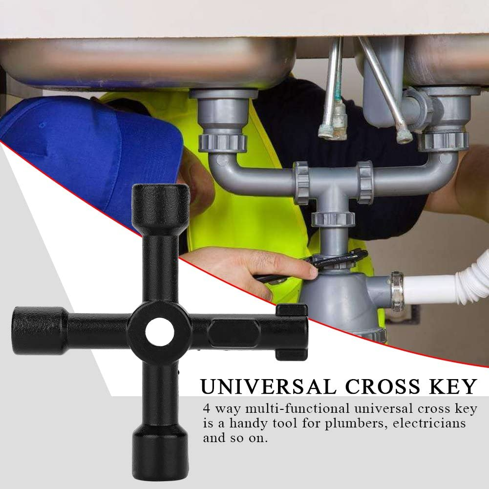 Cross Key,4 Way Multi‑functional Universal Cross Key Zinc Alloy Plumbers Electricians Valve Tools Black