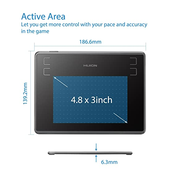 Amazon.com: Huion Inspiroy H430P Drawing Tablet, Digital Graphics Tablet with Battery-Free Stylus, 4096 Levels Pressure, 4 Express Keys, 4.8x3in OSU!