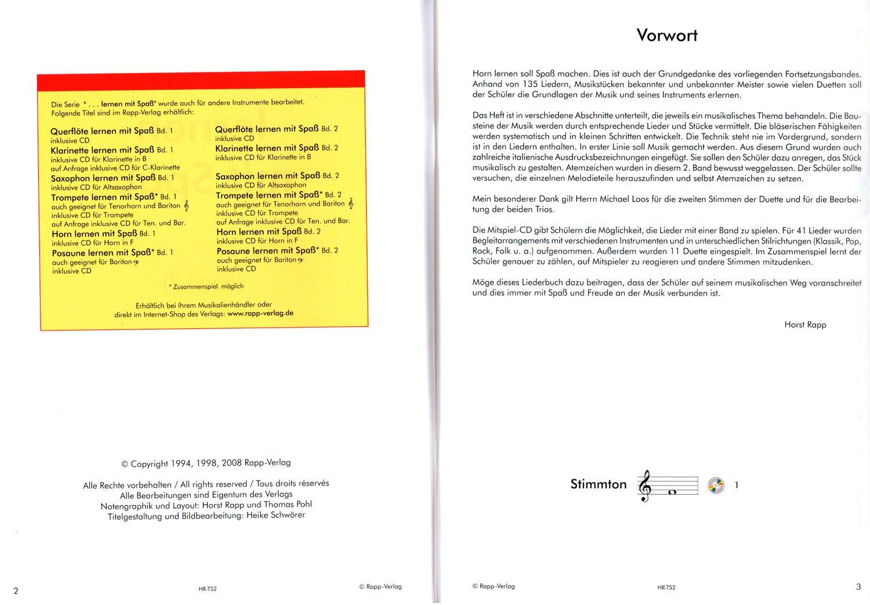 Horn lernen mit Spaß Band 2 von Horst Rapp - Serie ... lernen mit ...