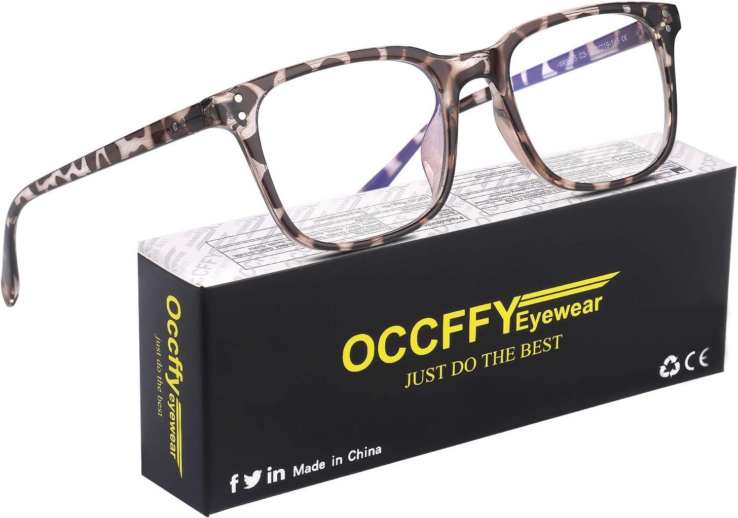Occffy Gafas para Ordenador Anti luz Azul Antifatiga Sin Graduacion Gafas Luz Azul para PC, Gaming, Tablet, Lectura, Video Juegos Lentes Transparente Hombre Mujer Oc092 (Leopardo)