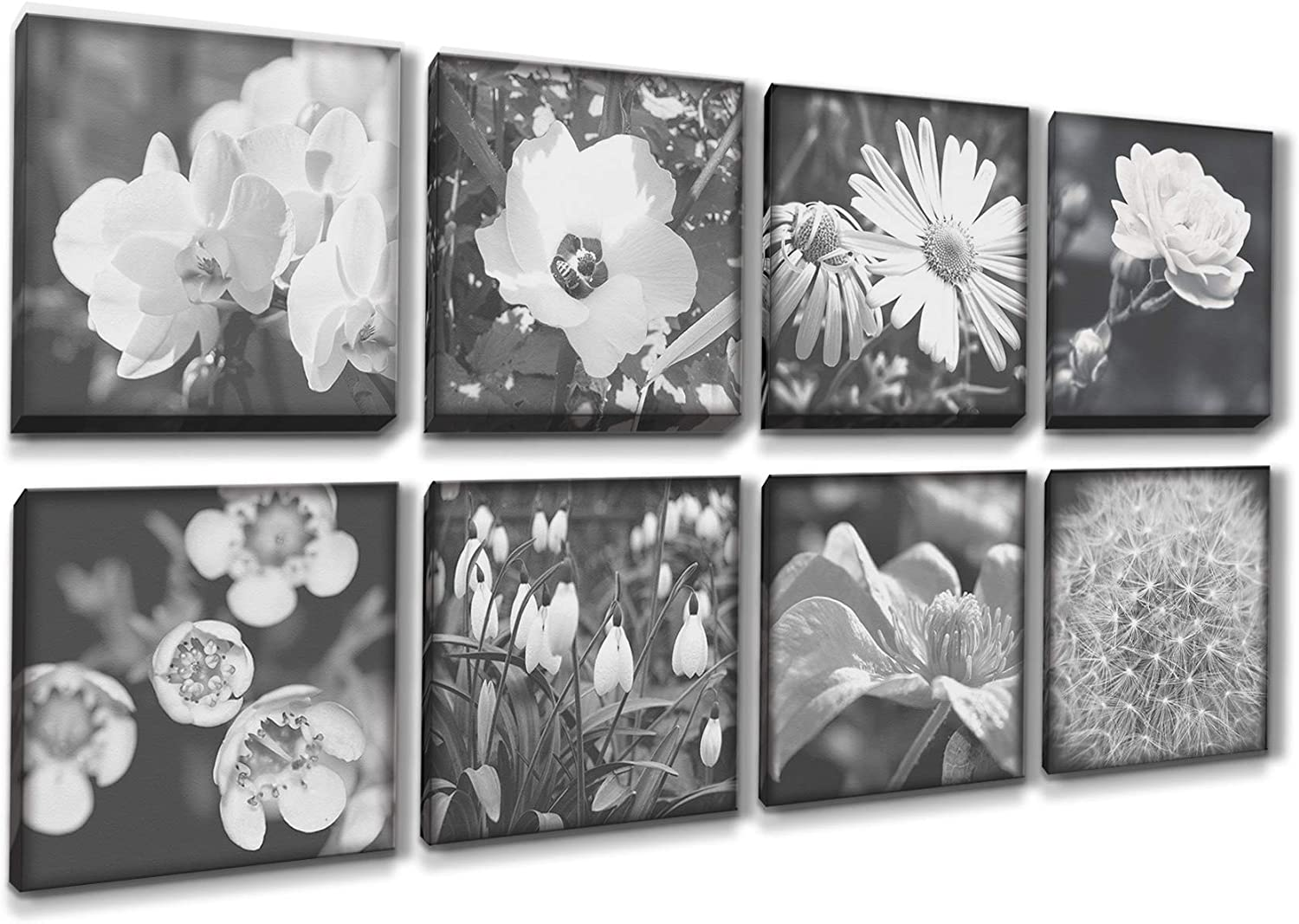 MARG Wall Decorations for Living Room, Black and White Flowers Mini Canvas Wall Art, 8 Panels 8x8 inch/Piece, House Decor