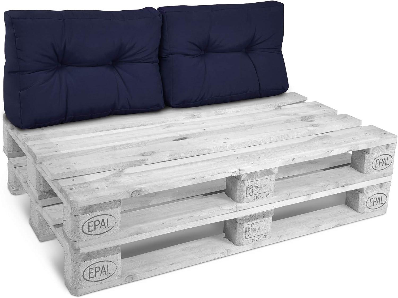 Beautissu Cojines para palés/sofá-palé y Europalés Eco Style - Cojines de Apoyo Acolchado 2X 60x40x10-20 cm Color: Azul Marino...