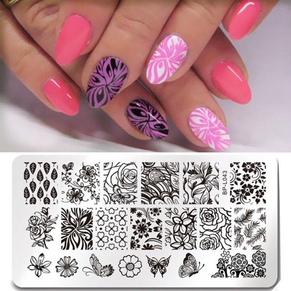 Frcolor Nail Stamping Druckplatte Maniküre Stempelschablonen Blumen ...
